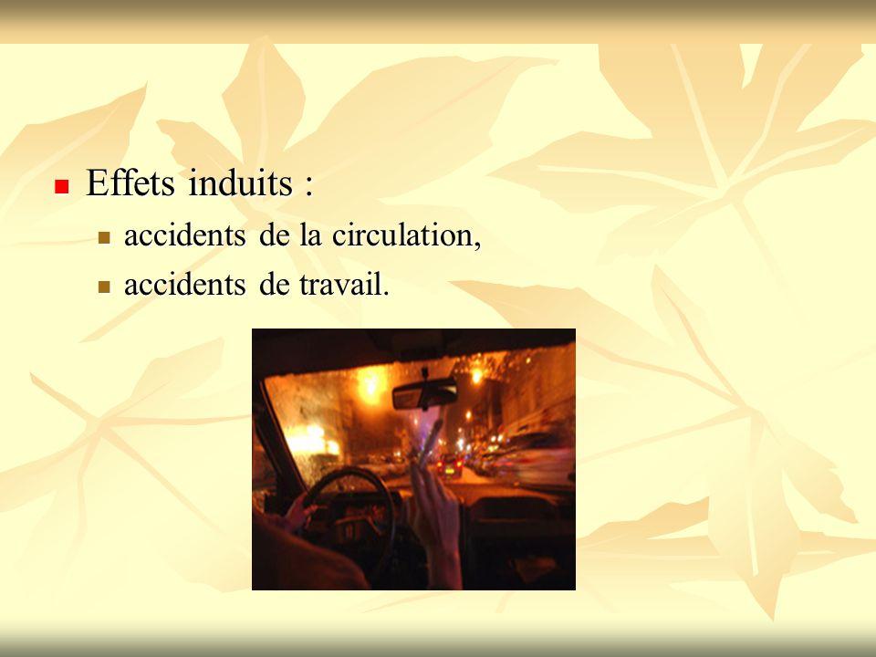 Effets induits : Effets induits : accidents de la circulation, accidents de la circulation, accidents de travail. accidents de travail.