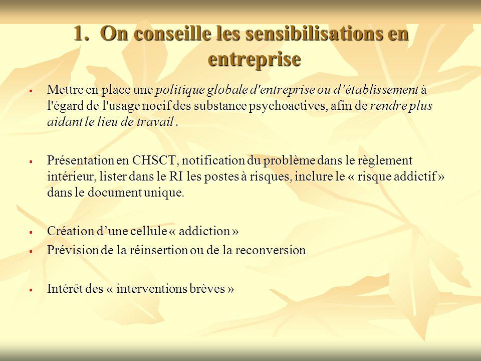 1.On conseille les sensibilisations en entreprise Mettre en place une politique globale d'entreprise ou détablissement à l'égard de l'usage nocif des