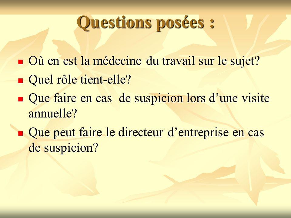 Questions posées : Où en est la médecine du travail sur le sujet? Où en est la médecine du travail sur le sujet? Quel rôle tient-elle? Quel rôle tient