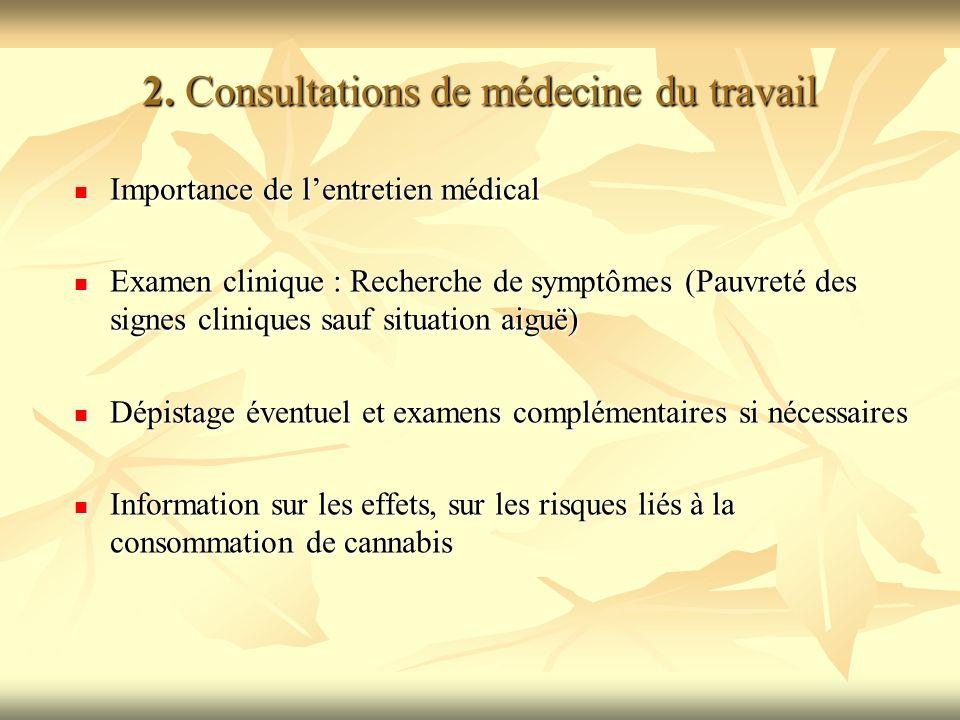2. Consultations de médecine du travail Importance de lentretien médical Importance de lentretien médical Examen clinique : Recherche de symptômes (Pa