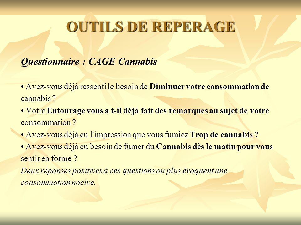 OUTILS DE REPERAGE Questionnaire : CAGE Cannabis Avez-vous déjà ressenti le besoin de Diminuer votre consommation de Avez-vous déjà ressenti le besoin
