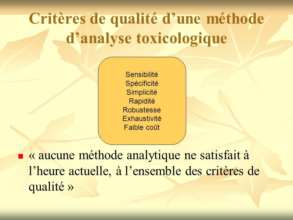 Critères de qualité dune méthode danalyse toxicologique « aucune méthode analytique ne satisfait à lheure actuelle, à lensemble des critères de qualit