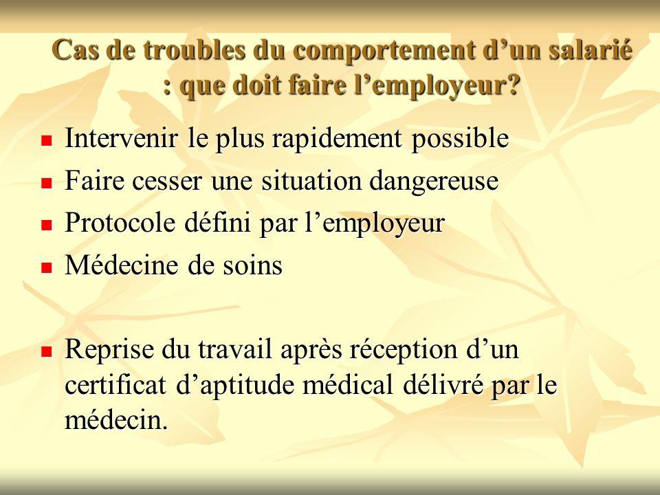 Cas de troubles du comportement dun salarié : que doit faire lemployeur? Intervenir le plus rapidement possible Intervenir le plus rapidement possible