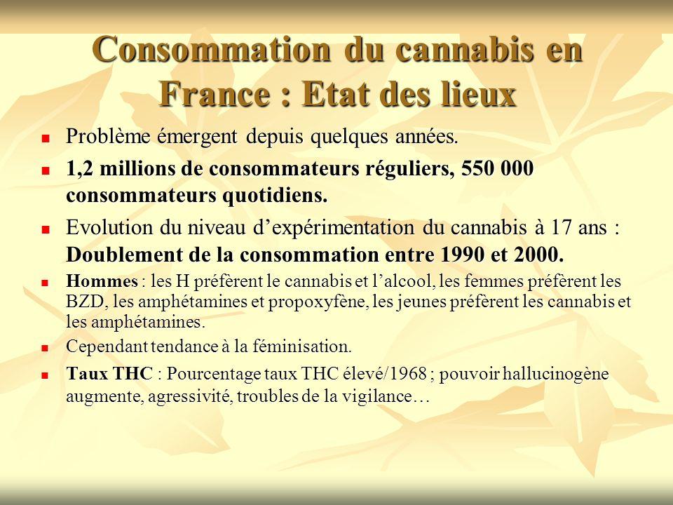 Consommation du cannabis en France : Etat des lieux Problème émergent depuis quelques années. Problème émergent depuis quelques années. 1,2 millions d