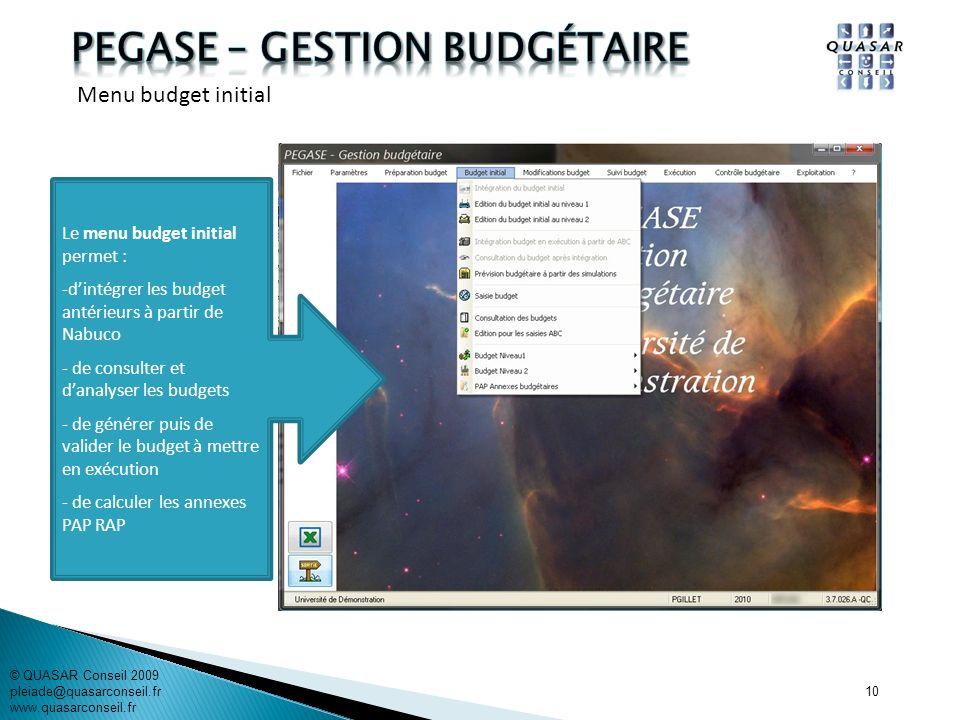 10 Le menu budget initial permet : -dintégrer les budget antérieurs à partir de Nabuco - de consulter et danalyser les budgets - de générer puis de va