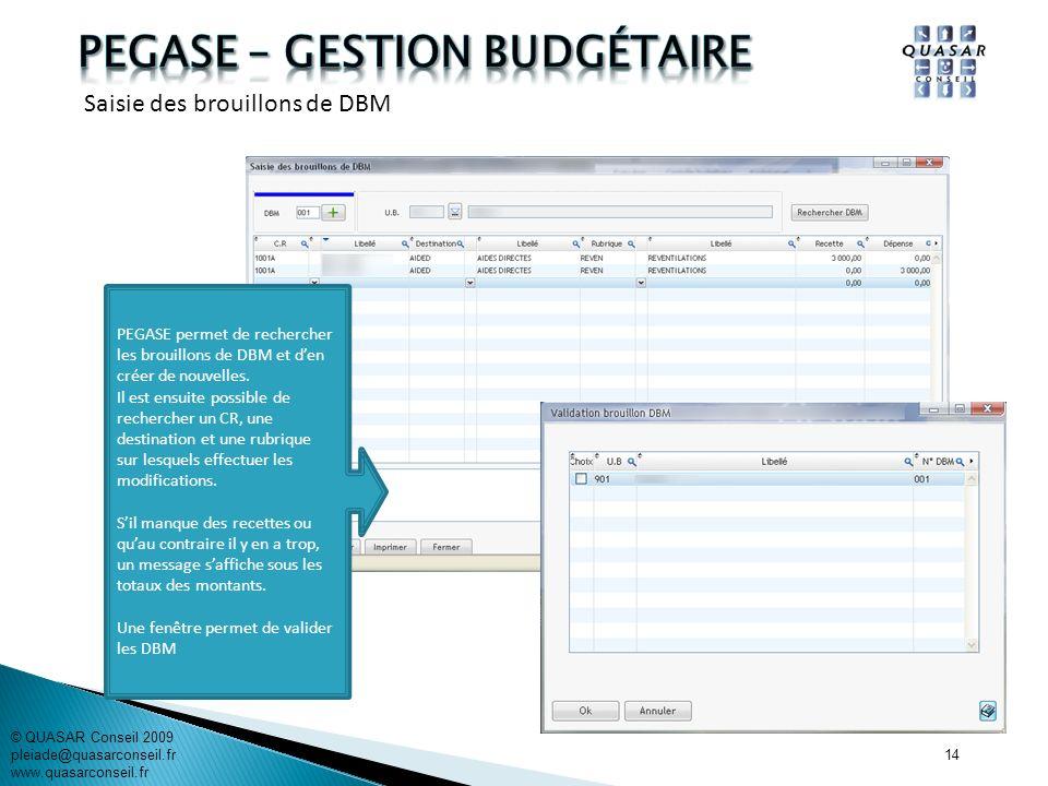 14 © QUASAR Conseil 2009 pleiade@quasarconseil.fr www.quasarconseil.fr PEGASE permet de rechercher les brouillons de DBM et den créer de nouvelles. Il