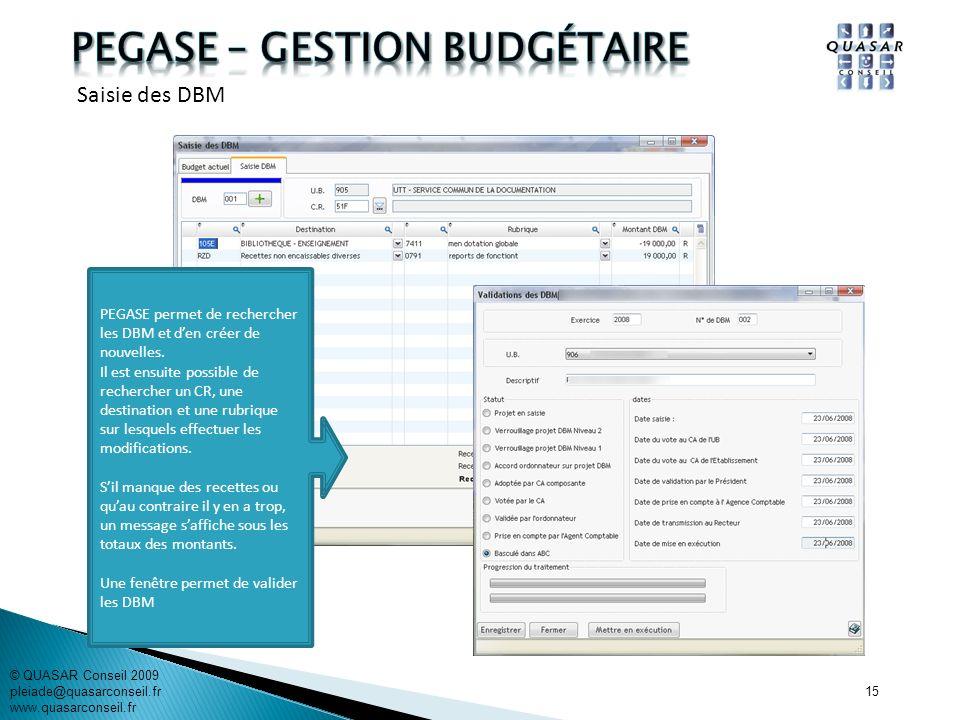 15 © QUASAR Conseil 2009 pleiade@quasarconseil.fr www.quasarconseil.fr PEGASE permet de rechercher les DBM et den créer de nouvelles. Il est ensuite p