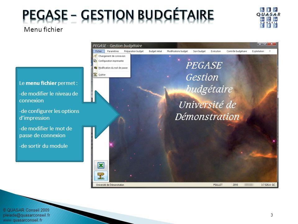 14 © QUASAR Conseil 2009 pleiade@quasarconseil.fr www.quasarconseil.fr PEGASE permet de rechercher les brouillons de DBM et den créer de nouvelles.