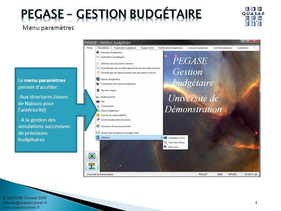 15 © QUASAR Conseil 2009 pleiade@quasarconseil.fr www.quasarconseil.fr PEGASE permet de rechercher les DBM et den créer de nouvelles.
