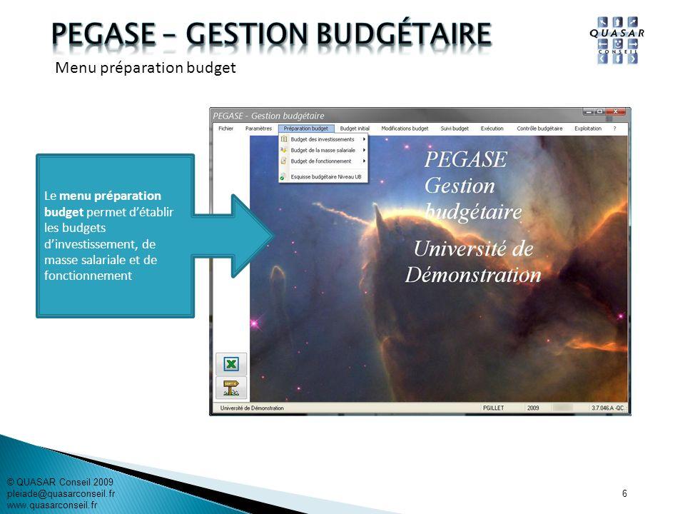 6 Le menu préparation budget permet détablir les budgets dinvestissement, de masse salariale et de fonctionnement © QUASAR Conseil 2009 pleiade@quasar