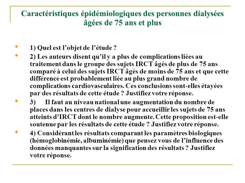 Caractéristiques épidémiologiques des personnes dialysées âgées de 75 ans et plus 1) Quel est lobjet de létude ? 2) Les auteurs disent quil y a plus d