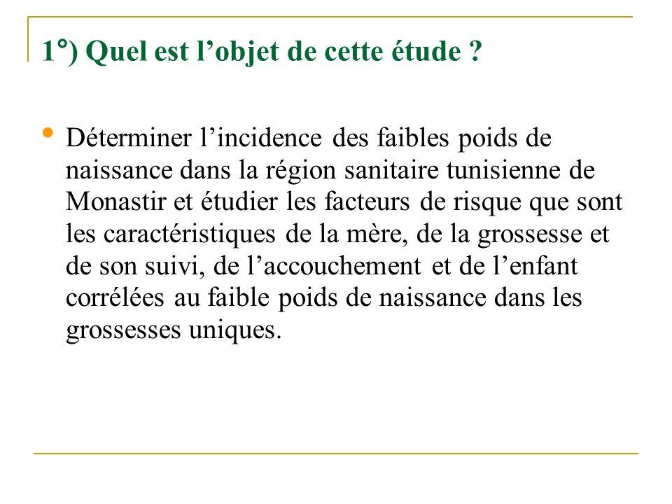 1°) Quel est lobjet de cette étude ? Déterminer lincidence des faibles poids de naissance dans la région sanitaire tunisienne de Monastir et étudier l