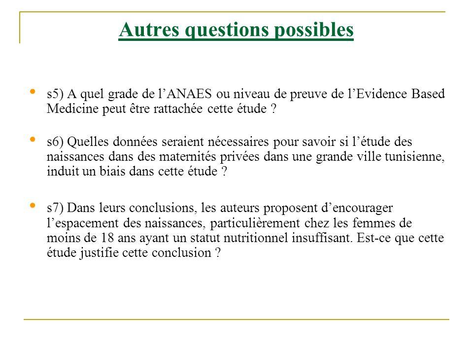 Autres questions possibles s5) A quel grade de lANAES ou niveau de preuve de lEvidence Based Medicine peut être rattachée cette étude ? s6) Quelles do