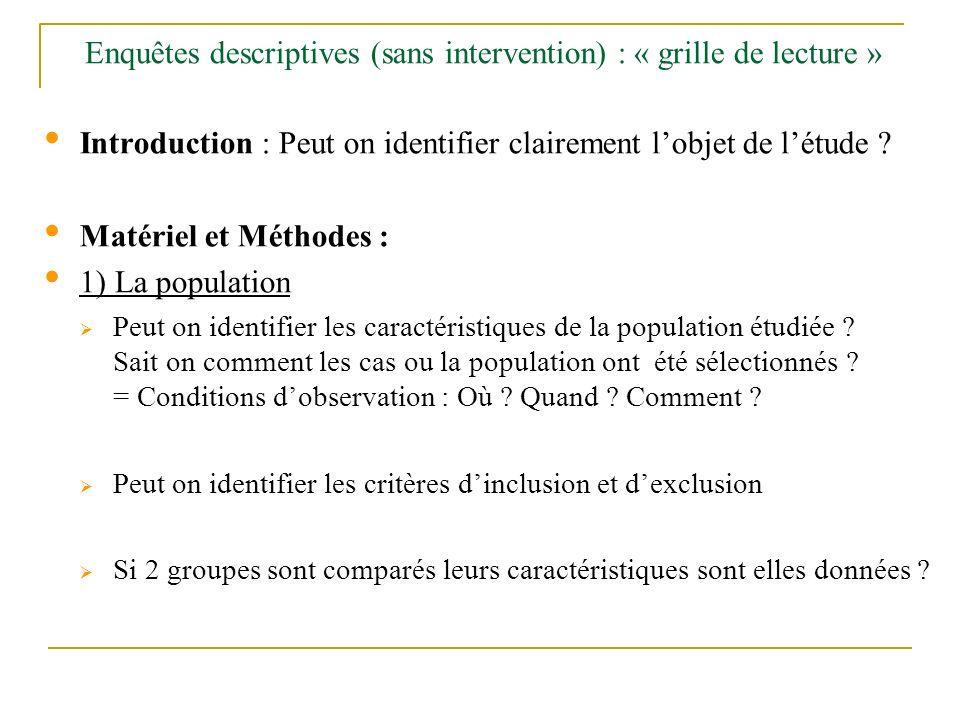 Enquêtes descriptives (sans intervention) : « grille de lecture » Introduction : Peut on identifier clairement lobjet de létude ? Matériel et Méthodes