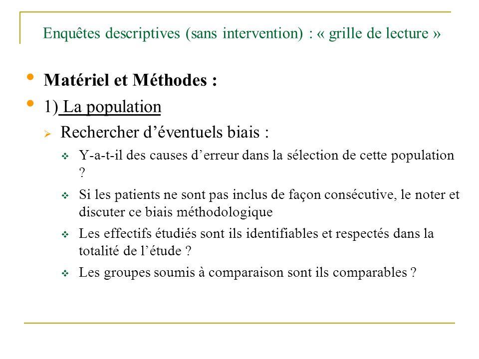 Enquêtes descriptives (sans intervention) : « grille de lecture » Matériel et Méthodes : 1) La population Rechercher déventuels biais : Y-a-t-il des c