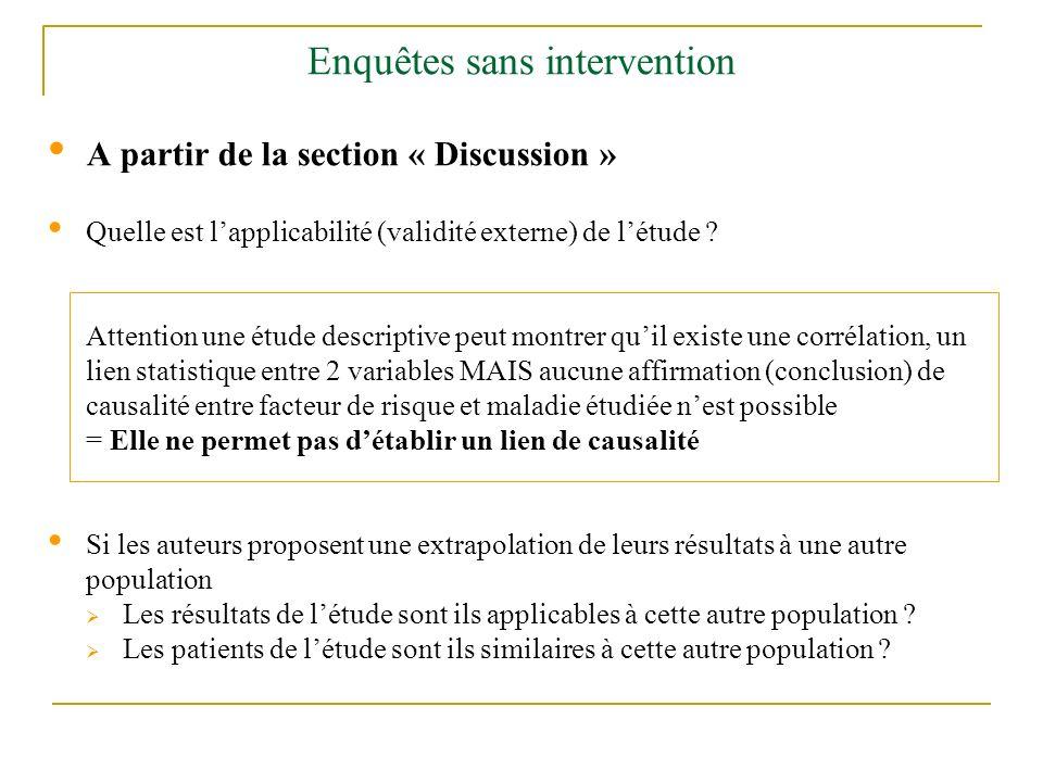 Enquêtes sans intervention A partir de la section « Discussion » Quelle est lapplicabilité (validité externe) de létude ? Attention une étude descript