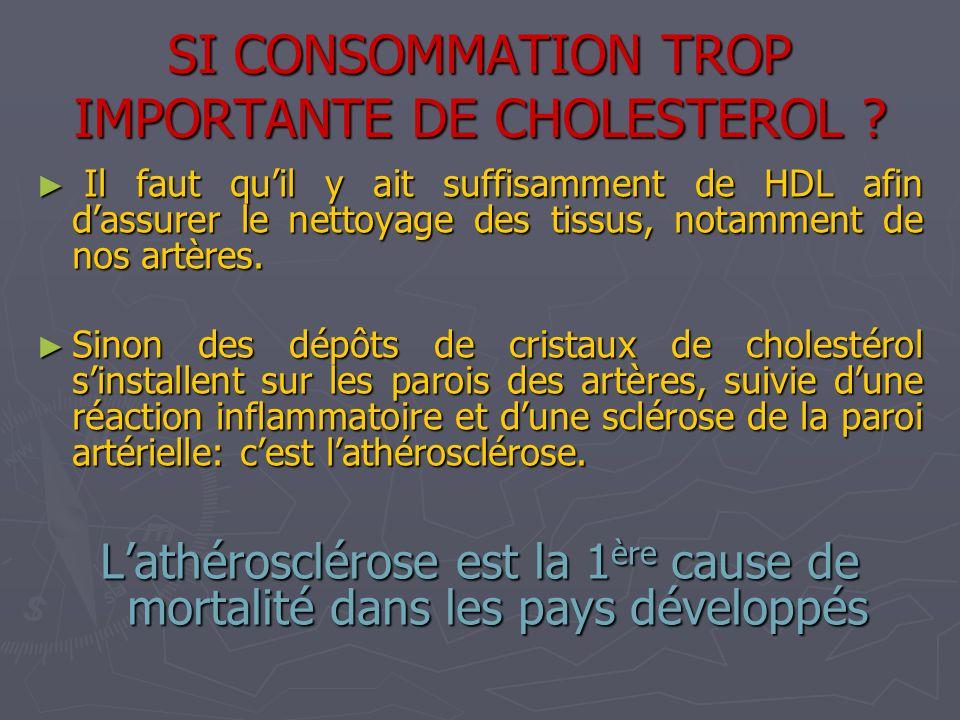 SI CONSOMMATION TROP IMPORTANTE DE CHOLESTEROL ? Il faut quil y ait suffisamment de HDL afin dassurer le nettoyage des tissus, notamment de nos artère