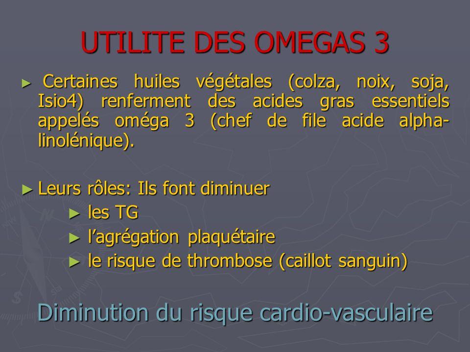 UTILITE DES OMEGAS 3 Certaines huiles végétales (colza, noix, soja, Isio4) renferment des acides gras essentiels appelés oméga 3 (chef de file acide a