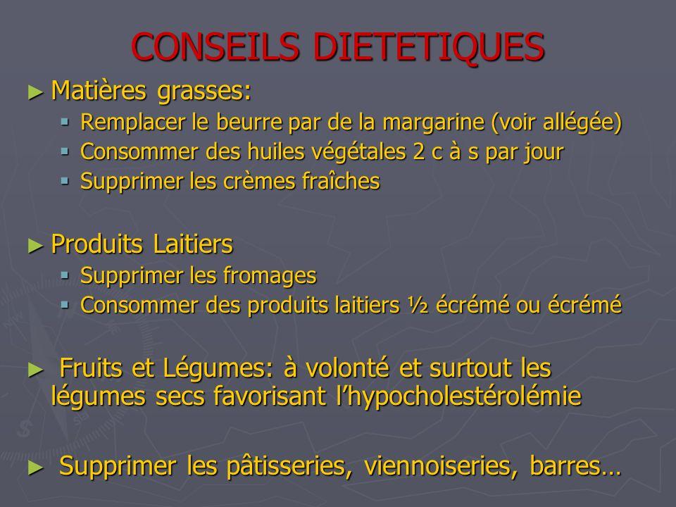 CONSEILS DIETETIQUES Matières grasses: Matières grasses: Remplacer le beurre par de la margarine (voir allégée) Remplacer le beurre par de la margarin