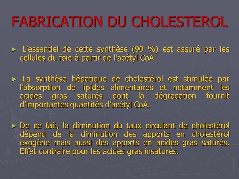 FABRICATION DU CHOLESTEROL Lessentiel de cette synthèse (90 %) est assuré par les cellules du foie à partir de lacétyl CoA Lessentiel de cette synthès
