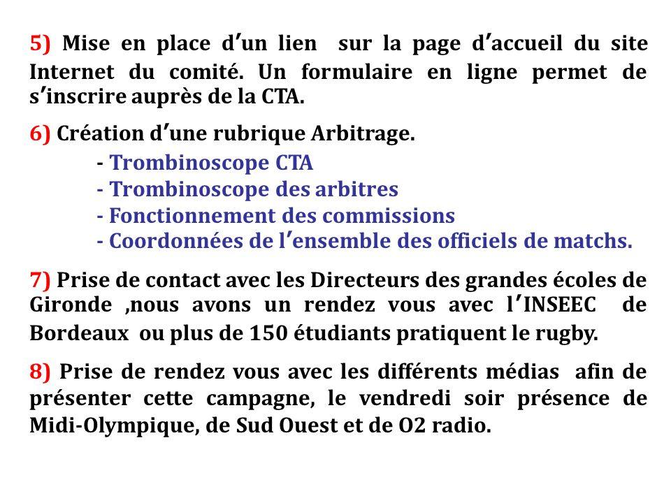 5) Mise en place dun lien sur la page daccueil du site Internet du comité. Un formulaire en ligne permet de sinscrire auprès de la CTA. 6) Création du