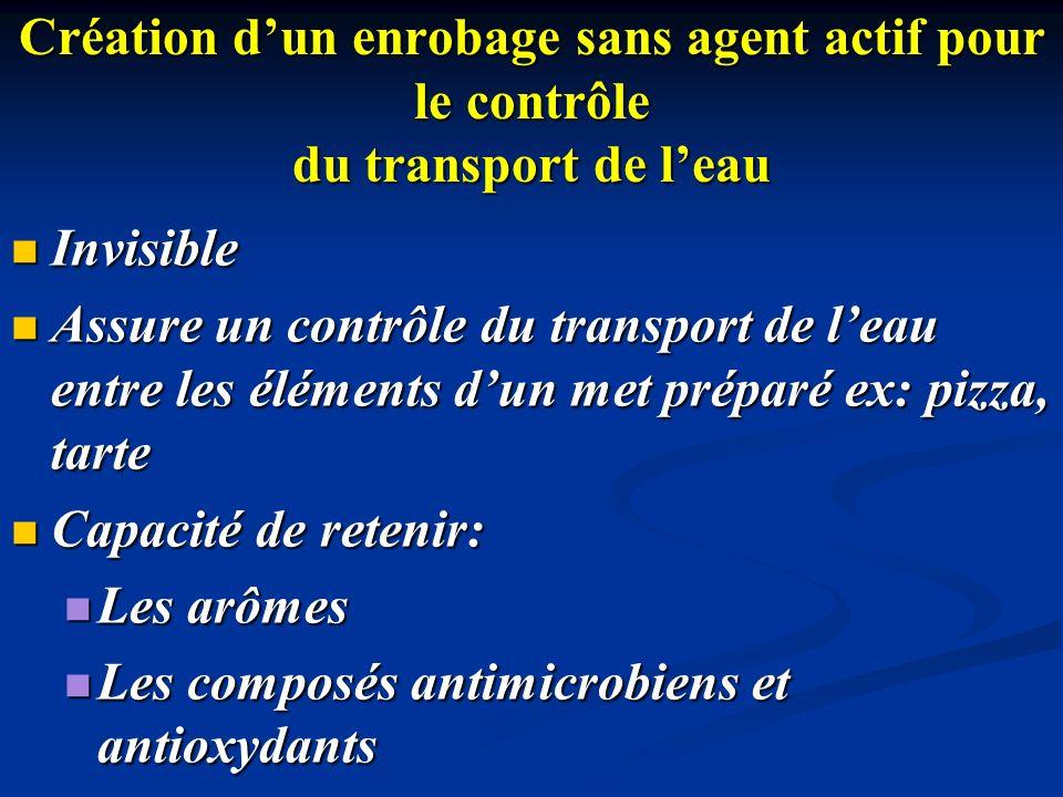 Création dun enrobage sans agent actif pour le contrôle du transport de leau Invisible Invisible Assure un contrôle du transport de leau entre les élé