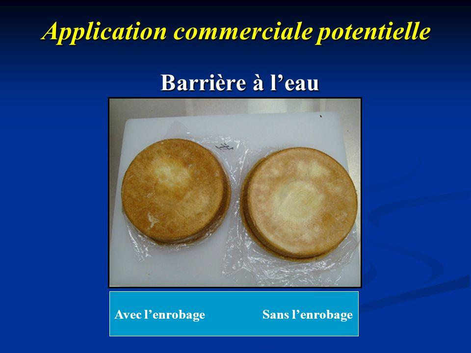 Application commerciale potentielle Barrière à leau Avec Longevita TM Sans Longevita TM Avec lenrobage Sans lenrobage