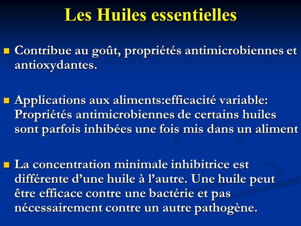 Les Huiles essentielles Contribue au goût, propriétés antimicrobiennes et antioxydantes. Contribue au goût, propriétés antimicrobiennes et antioxydant
