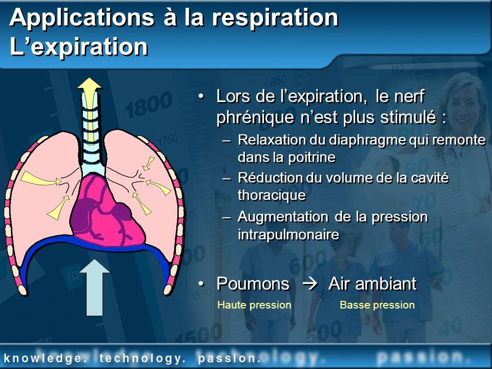 Applications à la respiration Lexpiration Lors de lexpiration, le nerf phrénique nest plus stimulé : –Relaxation du diaphragme qui remonte dans la poi