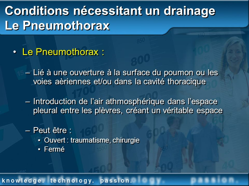Conditions nécessitant un drainage Le Pneumothorax Le Pneumothorax : –Lié à une ouverture à la surface du poumon ou les voies aèriennes et/ou dans la
