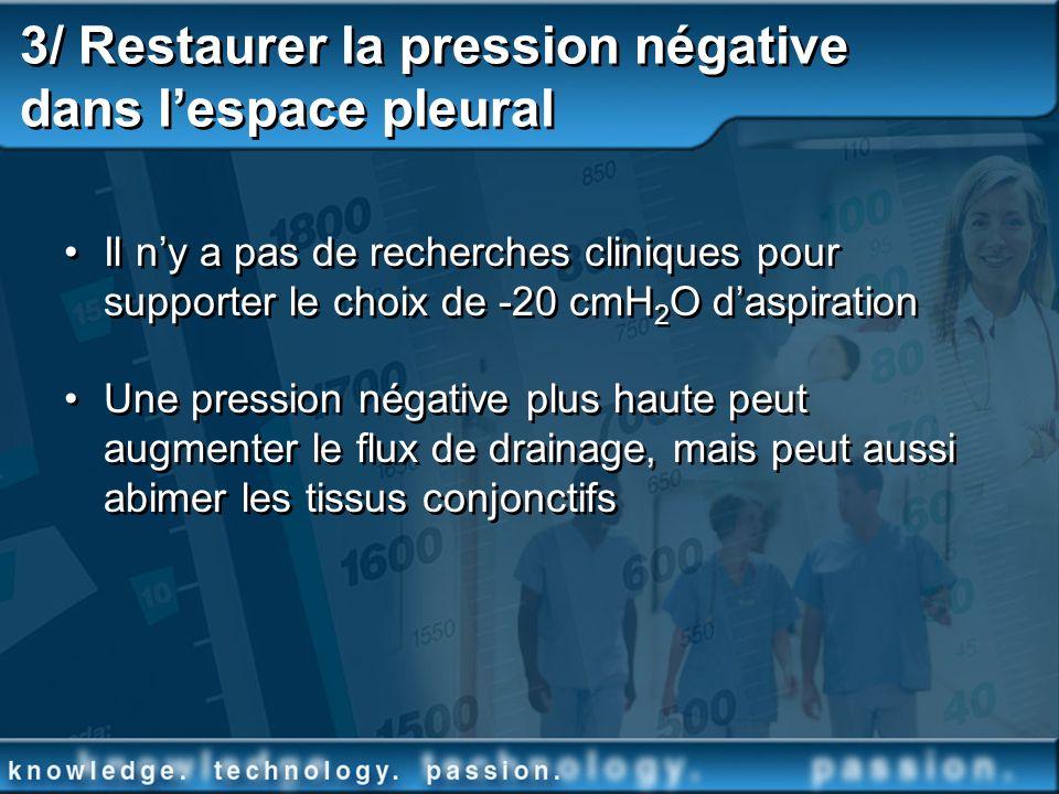 3/ Restaurer la pression négative dans lespace pleural Il ny a pas de recherches cliniques pour supporter le choix de -20 cmH 2 O daspiration Une pres