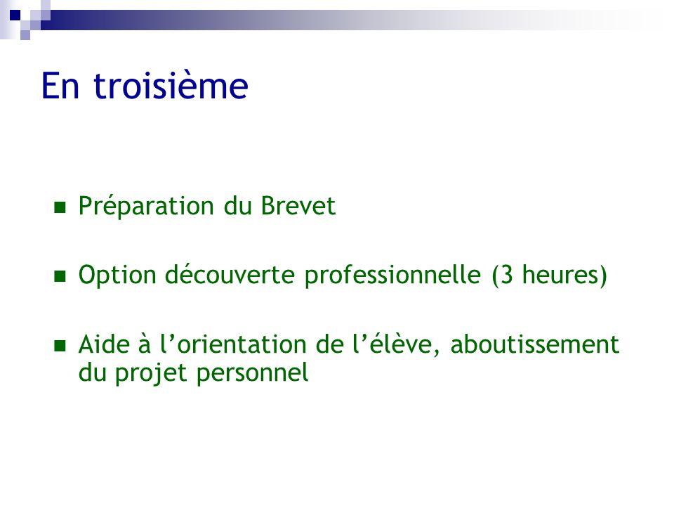 En troisième Préparation du Brevet Option découverte professionnelle (3 heures) Aide à lorientation de lélève, aboutissement du projet personnel