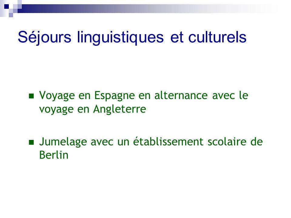 Séjours linguistiques et culturels Voyage en Espagne en alternance avec le voyage en Angleterre Jumelage avec un établissement scolaire de Berlin