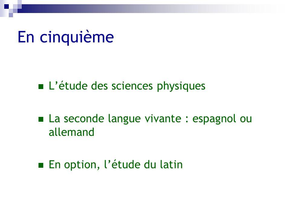 En cinquième Létude des sciences physiques La seconde langue vivante : espagnol ou allemand En option, létude du latin