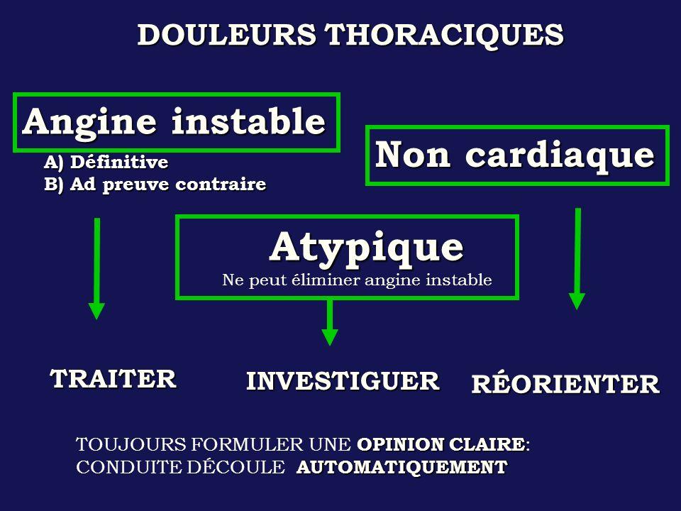 DOULEURS THORACIQUES A) Définitive B) Ad preuve contraire Angine instable Non cardiaque Atypique Atypique Ne peut éliminer angine instable OPINION CLA