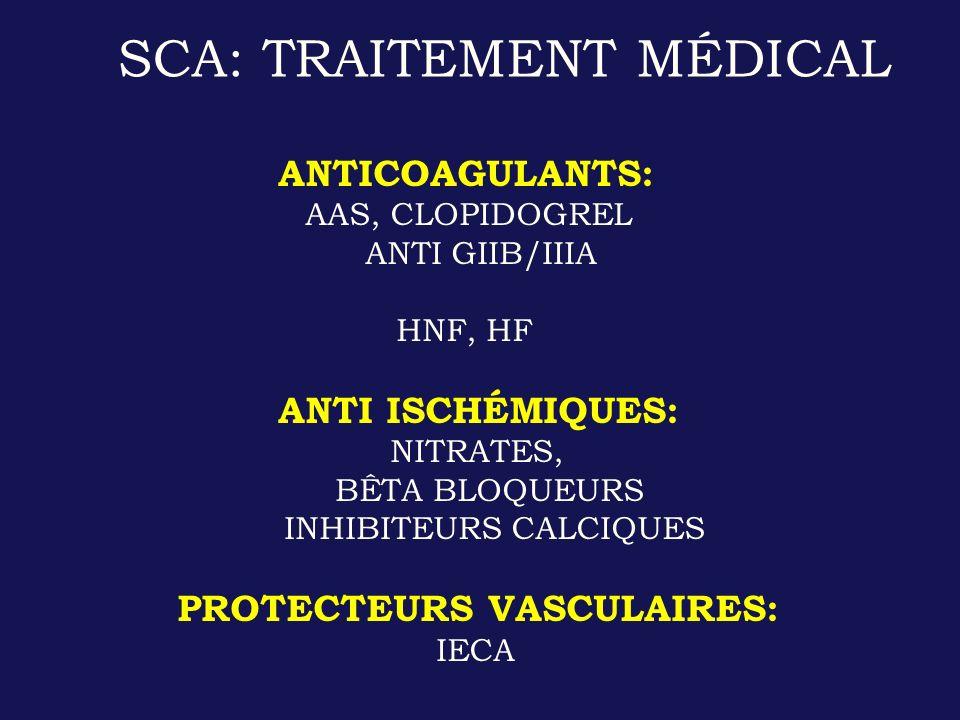 ANTICOAGULANTS: AAS, CLOPIDOGREL ANTI GIIB/IIIA HNF, HF ANTI ISCHÉMIQUES: NITRATES, BÊTA BLOQUEURS INHIBITEURS CALCIQUES PROTECTEURS VASCULAIRES: IECA