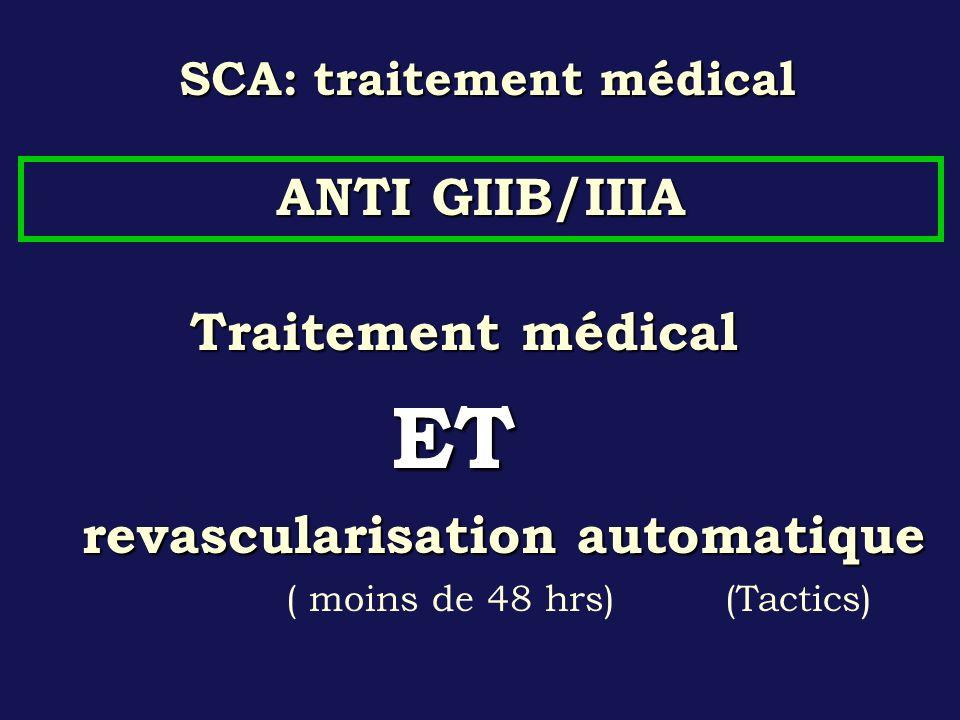 SCA: traitement médical Traitement médical ET ET revascularisation automatique ( moins de 48 hrs) (Tactics) ANTI GIIB/IIIA