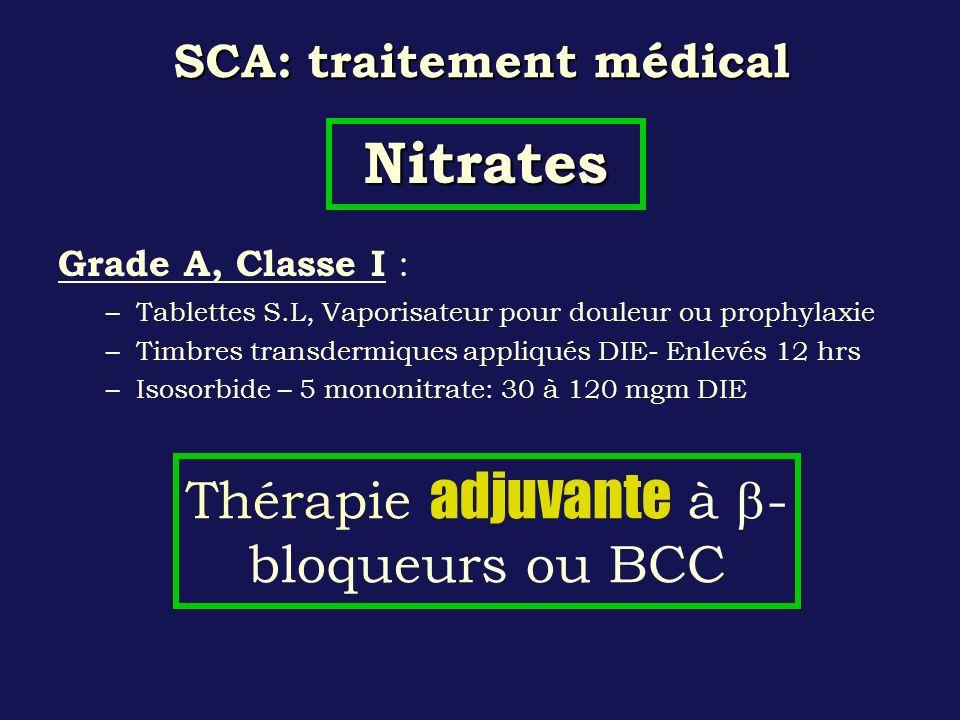 SCA: traitement médical Grade A, Classe I : –Tablettes S.L, Vaporisateur pour douleur ou prophylaxie –Timbres transdermiques appliqués DIE- Enlevés 12