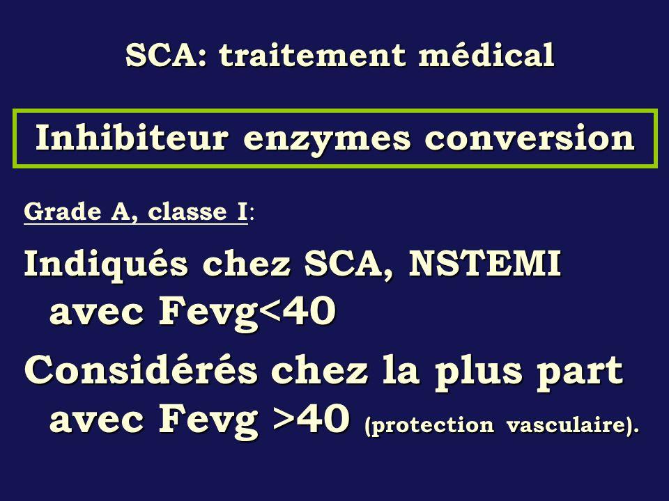 SCA: traitement médical Grade A, classe I : Indiqués chez SCA, NSTEMI avec Fevg<40 Considérés chez la plus part avec Fevg >40 (protection vasculaire).