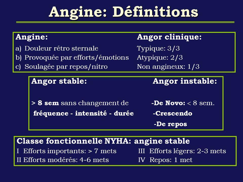 Angine: Définitions Angor stable:Angor instable: > 8 sem sans changement de -De Novo: 8 sem. fréquence - intensité - durée -Crescendo -De repos Classe
