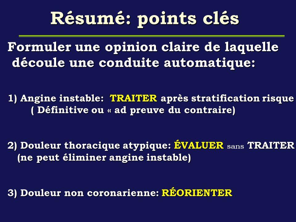 Résumé: points clés Formuler une opinion claire de laquelle découle une conduite automatique: découle une conduite automatique: 1) Angine instable: TR
