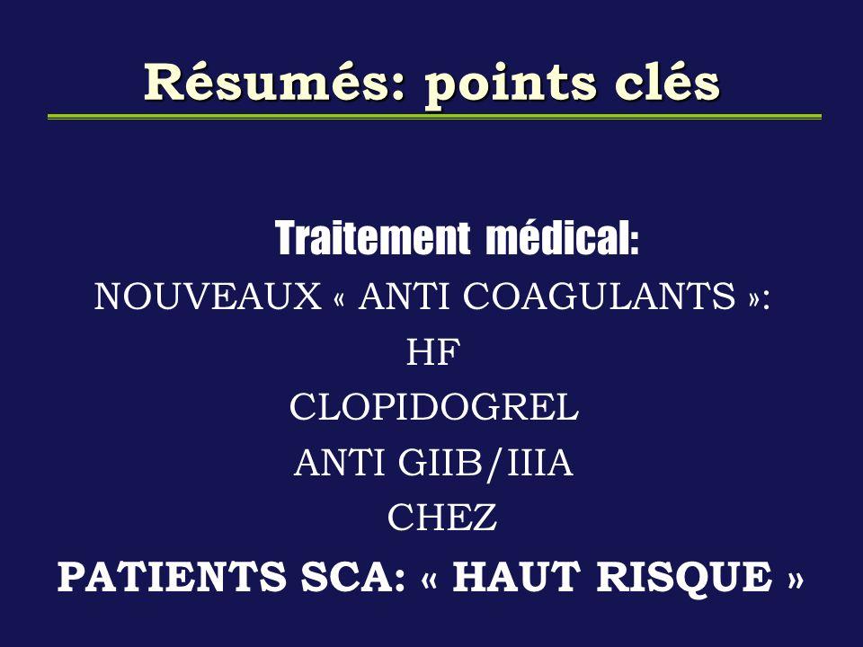 Résumés: points clés Traitement médical: NOUVEAUX « ANTI COAGULANTS »: HF CLOPIDOGREL ANTI GIIB/IIIA CHEZ PATIENTS SCA: « HAUT RISQUE »