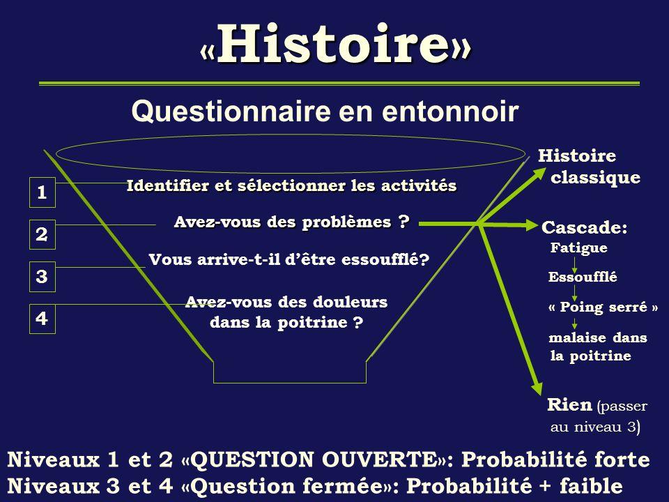 « Histoire» « Histoire» Questionnaire en entonnoir Identifier et sélectionner les activités Avez-vous des problèmes ? Vous arrive-t-il dêtre essoufflé