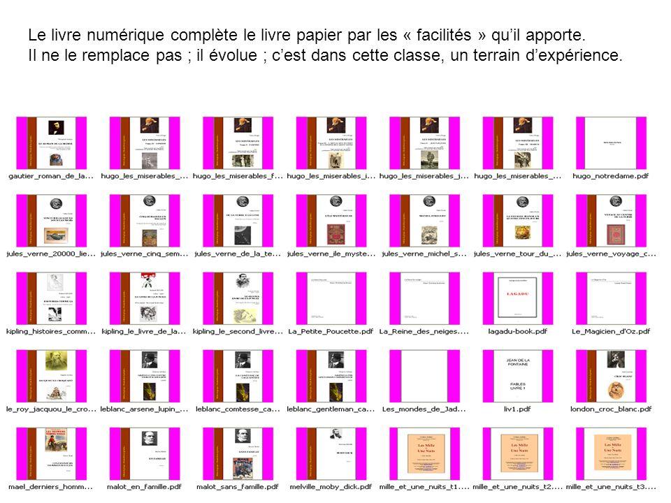 Le livre numérique complète le livre papier par les « facilités » quil apporte. Il ne le remplace pas ; il évolue ; cest dans cette classe, un terrain