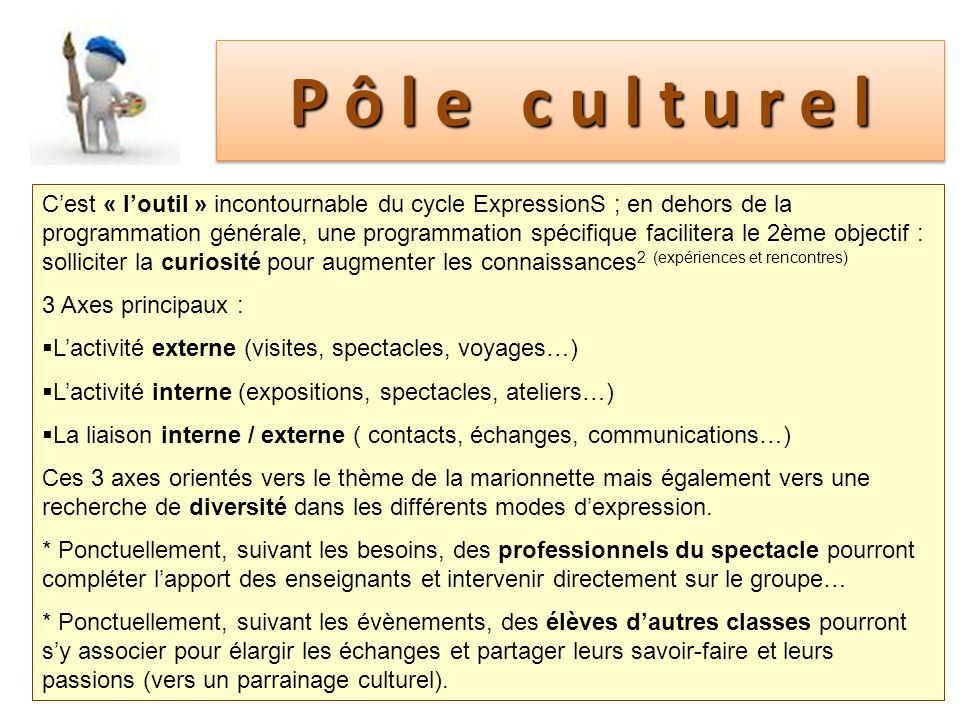Pôle culturel Cest « loutil » incontournable du cycle ExpressionS ; en dehors de la programmation générale, une programmation spécifique facilitera le