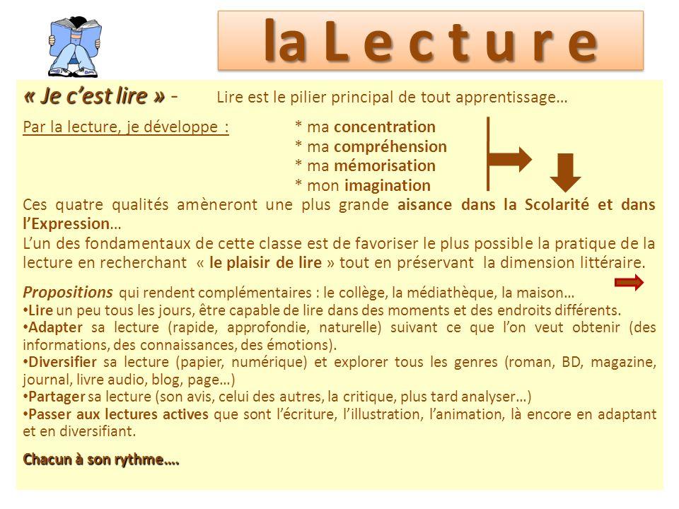 la L e c t u r e « Je cest lire » « Je cest lire » - Lire est le pilier principal de tout apprentissage… Par la lecture, je développe :* ma concentrat