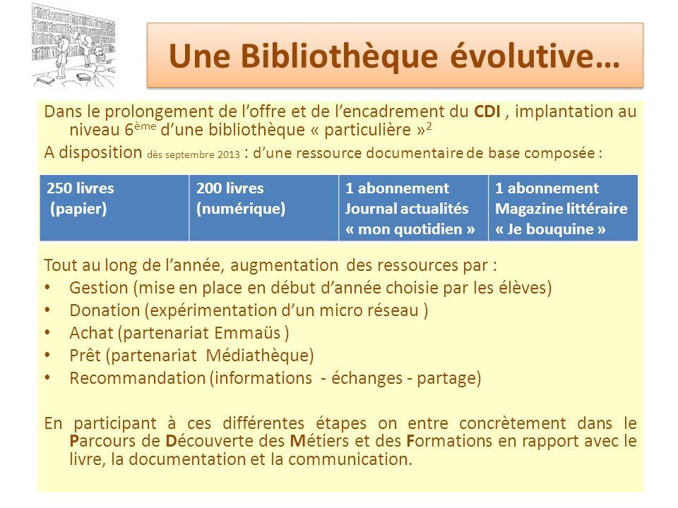 Une Bibliothèque évolutive… Dans le prolongement de loffre et de lencadrement du CDI, implantation au niveau 6 ème dune bibliothèque « particulière »