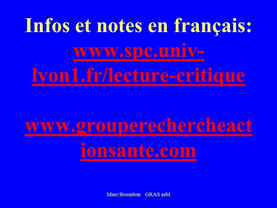 Marc Bouniton GRAS asbl Infos et notes en français: www.spc.univ- lyon1.fr/lecture-critique www.grouperechercheact ionsante.com www.spc.univ- lyon1.fr/lecture-critique www.grouperechercheact ionsante.com