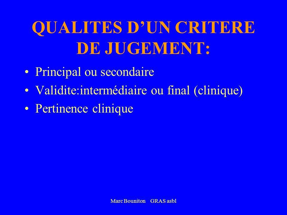 Marc Bouniton GRAS asbl QUALITES DUN CRITERE DE JUGEMENT: Principal ou secondaire