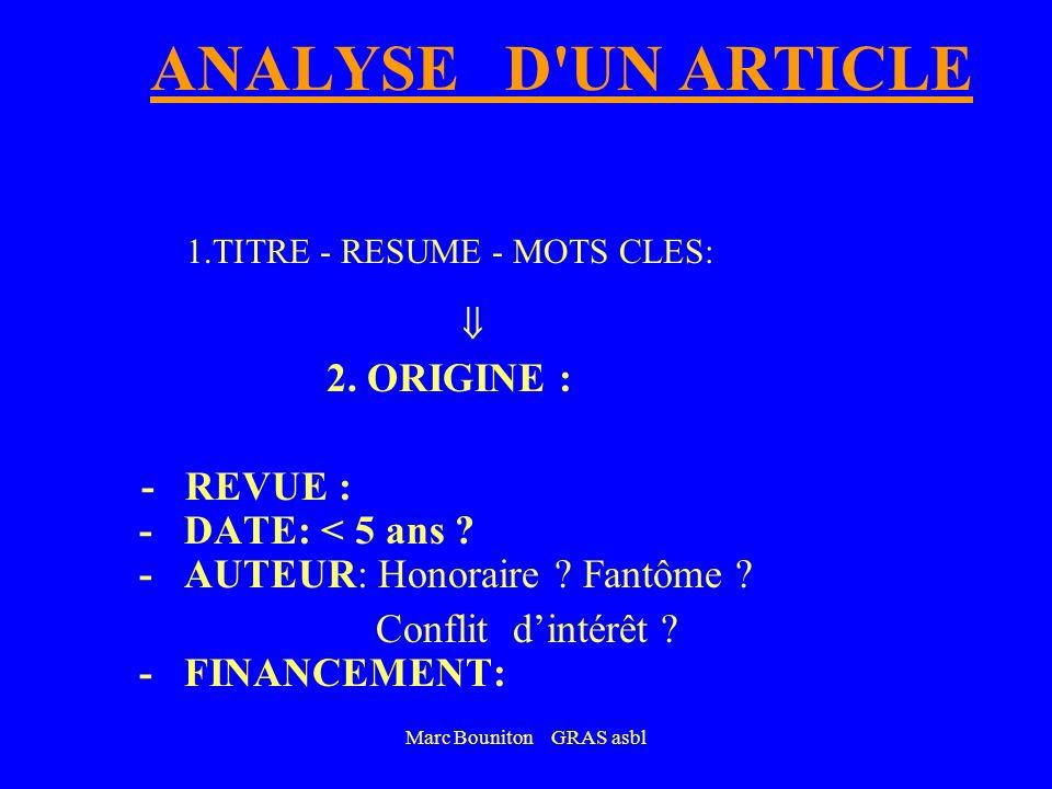 Marc Bouniton GRAS asbl A pplicable en M.G. ? B ut : bien défini ? S ource : fiable ? T ype détude : adapté à la question ? R ésultat significatif ? A